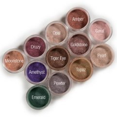 moonstone, Druzy, Opal, Amber, Amethyst, Tiger, Eye, Goldstone, Coral, Emeral, Pewter, Topaz, Pearl eye shadows